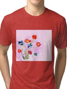 Scenic watercolor background, floral composition Tri-blend T-Shirt