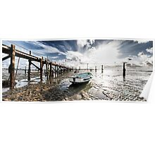 Boats at low tide Poster