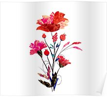 Watercolor Cosmos flowers Poster