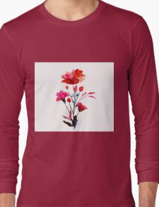 Watercolor Cosmos flowers Long Sleeve T-Shirt
