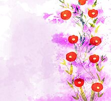 watercolor background, floral composition by ngocdai86