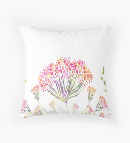 Watercolor painting, flower Throw Pillow