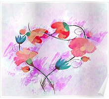 Beautiful Pink flower, Watercolor painting Poster
