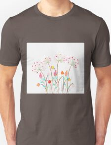 Beautiful Watercolor flower set over white background for design T-Shirt