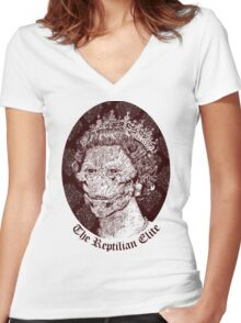 The Reptilian Elite Women's Fitted V-Neck T-Shirt