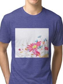 Colorful pink flowers, watercolor Tri-blend T-Shirt