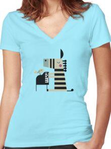 Music Zebra Women's Fitted V-Neck T-Shirt
