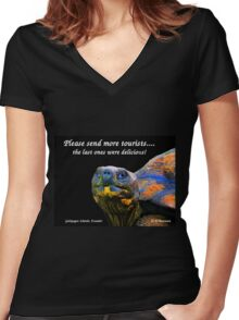 Please Send More Tourists - Tortuga Women's Fitted V-Neck T-Shirt