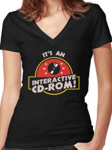 It's An Interactive CD-ROM Jurassic Park Women's Fitted V-Neck T-Shirt