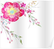Spring romantic flowers, watercolor Poster