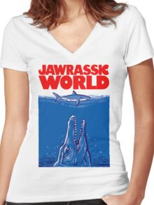Jawrassic World (variation) Women's Fitted V-Neck T-Shirt