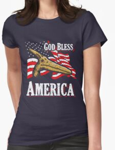 God Bless America Pterodactyl Womens Fitted T-Shirt