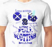 happy 2 bee eating a full Scottish Unisex T-Shirt
