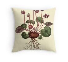Cyclamen Flower Botanical Throw Pillow