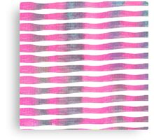 Pink and Purple Watercolor Brush Stroke Stripes Canvas Print