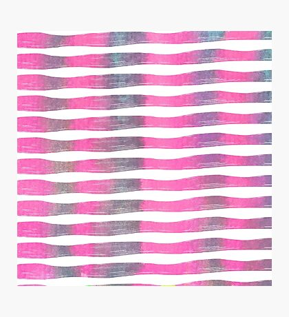 Pink and Purple Watercolor Brush Stroke Stripes Photographic Print