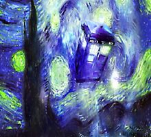 Exploding Tardis in the starry night by Crystal-Rain