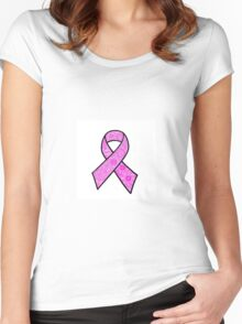 Breast Cancer Ribbon Zentangle Women's Fitted Scoop T-Shirt