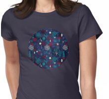 Elements - a watercolor pattern in red, cream & navy blue Womens Fitted T-Shirt