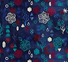 Elements - a watercolor pattern in red, cream & navy blue by micklyn