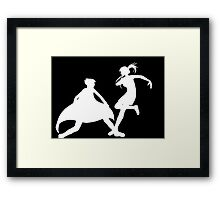 Fighting scene silhouette Framed Print