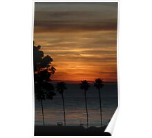 Palm Trees and Pacific Ocean Sunset Poster