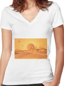 orange Mars Women's Fitted V-Neck T-Shirt
