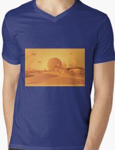 orange Mars Mens V-Neck T-Shirt