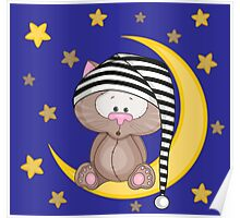 Cat moon dream Poster