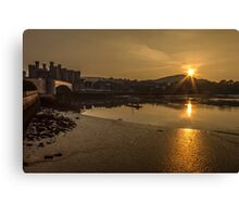 Conwy harbour and castle Canvas Print