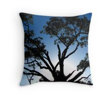 Tree Silhouette at Sunset Throw Pillow