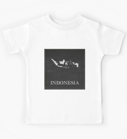 Indonesia Map Chalk Drawing Kids Tee