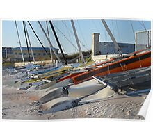 SAILBOATS ON THE BEACH Poster