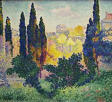 Les cyprès à Cagnes, or Cypresses at Cagnes, 1908, by Henri-Edmond Cross by Adam Asar