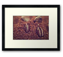 Coffee beans in the heat of the grounded coffee Framed Print