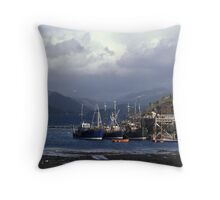 Fishing Boats at Kyle of Lochalsh. Throw Pillow