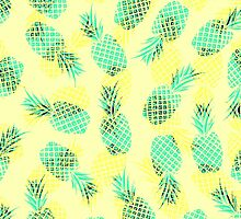 Neon Yellow and Green Tropical Hawaiian Pineapples by ChicPink