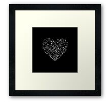 Lace Silver Heart (on black) Framed Print