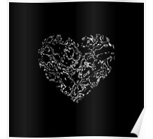 Lace Silver Heart (on black) Poster