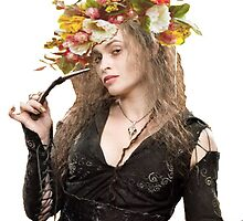 bellatrix with flower crown by sherlokian