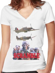 Battle Of Britain Tee Shirt - Scramble Women's Fitted V-Neck T-Shirt
