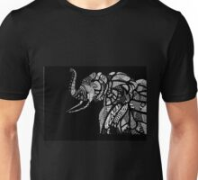 African Elephant in Traditional African Patterns (black) Unisex T-Shirt
