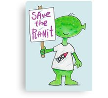 Save the Planet - Protesting Alien Eco Warrior.  Canvas Print