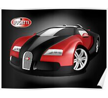 Black and Red Bugatti Veyron Poster