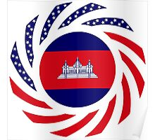 Cambodian American Multinational Patriot Flag Poster
