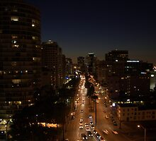 Long Beach Ocean Blvd Night View  by epun