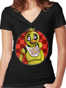 Five Nights At Freddy's- Chica Women's Fitted V-Neck T-Shirt