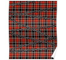 Red Plaid and Chains Poster