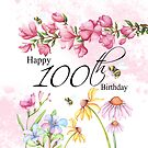 100th Birthday Throw Pillow Watercolor Garden Flowers by Moonlake