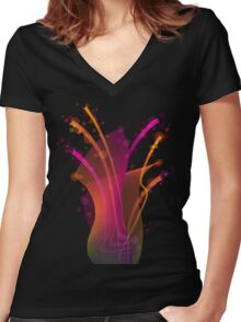 Abstract dynamic bright color stripes and shapes Women's Fitted V-Neck T-Shirt